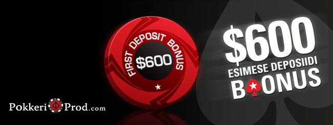 PokerStarsi rakeback & boonuskood: €500 PokerStarsi boonus