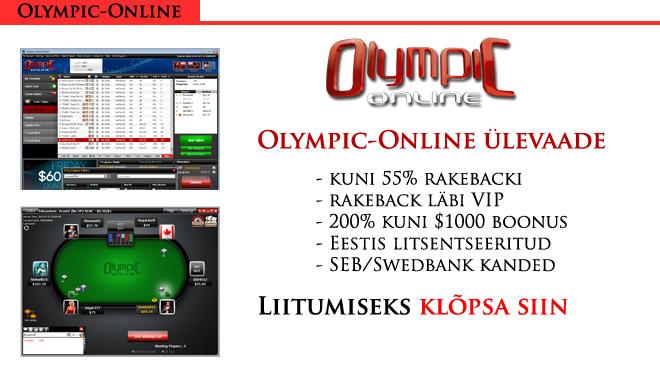 Olympic-Online rakeback, boonuskood, ülevaade, rake cap ja cashback