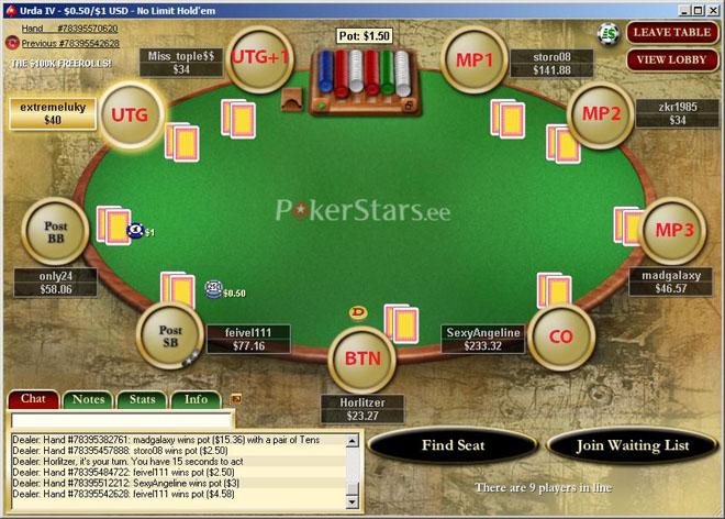 Ranka tabel: mäng enne floppi ja positsioonide nimetused