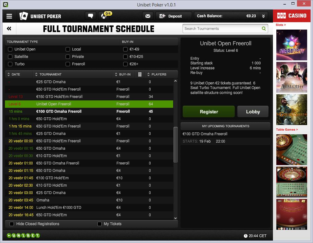 Unibeti uue tarkvara turniiride nimekiri laiendatult